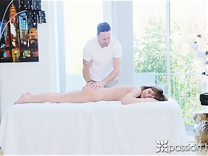 super-hot black-haired honey gets torn up after a rubdown