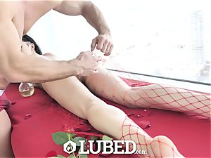 lubed Marley Brinx oiled up rubdown nail and creampie