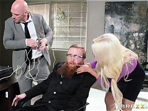 Bank robbing stunner Bridgette B pulverizes in front of the chief