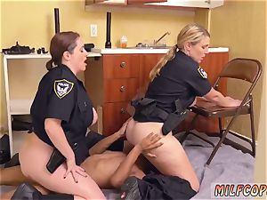 lubricated up bi-racial ebony male squatting in home gets our milf officers squatting on