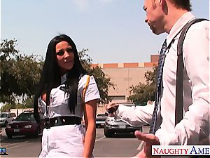 ultra-kinky Audrey Bitoni treats his schlong in her cootchie
