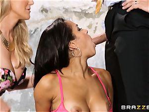 Brandi enjoy lets ho-bo Abbey Lee Brazil ravage her man