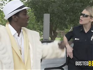 Shady pimp is caught smacking his nymph by mischievous mummy cops