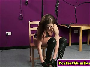 Leather fetish honey purrfectly cummed on face