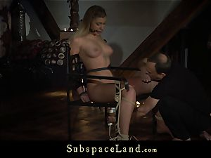 platinum-blonde trussed and ball-gagged penalized with deepthroat jizz shot