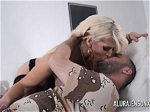 huge-boobed blond Alura Jenson likes a boy in uniform