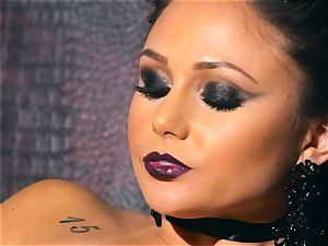 slender puny Ariana Marie super-sexy rubber solo getting off