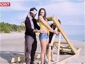 LETSDOEIT - pornstars shag a lucky stud at the Beach