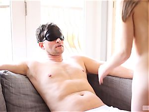 slender babe Alice March blindfolds and bangs her beau