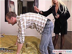 Nikita Von James salutes his member in her vulva