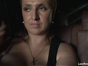 huge-boobed cougar films herself