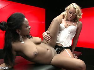 tough Kathia Nobili pushes her strap on shaft deep down her accomplice facehole