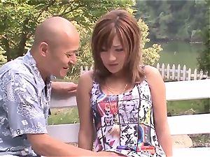 Premium outdoor Japan pummel with huge-boobed Aika