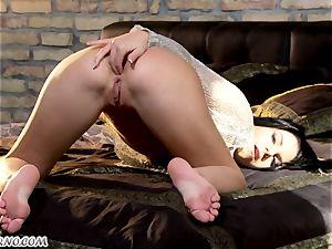 bony dark haired Gets her luxurious rump deep stuffing