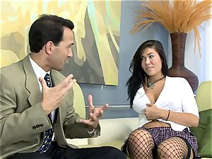 London fucked on a sofa in fishnet stockings
