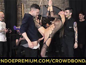CROWD bondage - extreme bondage & discipline pound wheel with Tina Kay
