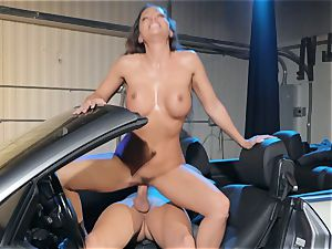 Abigail Mac spitting on a giant schlong