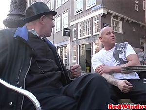 Real dutch hooker doggystyled in pantyhose