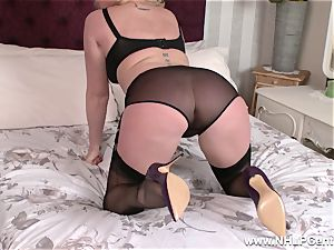 horny cougar playthings raw gash in nylons high high-heeled slippers garters