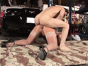 Alura Jenson gets down for some deep throating and smashing