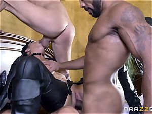 harsh in rubber Romi Rain gets screwed by three steamy stiffys