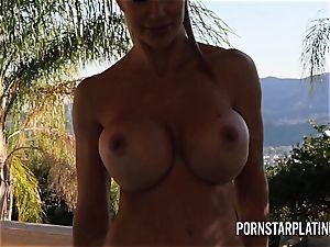 giant titty blond Puma Swede masturbates on the balcony