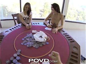 POVD strip poker leads teenager dolls into magnificent 3 way