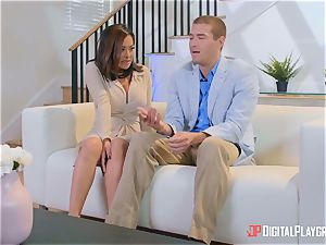 Kaylani Lei thrashed ballsack deep by suspended horny Xander