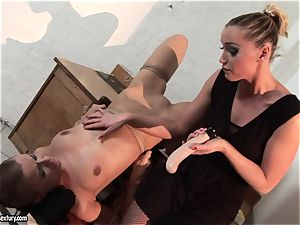 Kathia Nobili and C J made to do fake penis throating