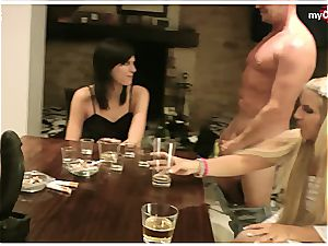 ash-blonde euro in front of her buddies getting plumbed fine