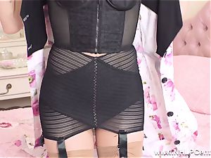 blond finger boinks tight cooter in retro girdle nylons