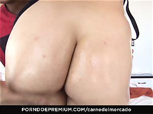 CARNE DEL MERCADO - ultra-kinky redhead first ravage on camera