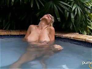 Puma Swede steaming honey smoking while in the pool