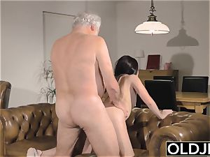 nubile Interrupts grandfather from Yoga And deep throats his rod