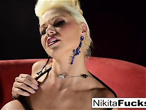 Russian milf Nikita does restrain bondage solo with a magic wand