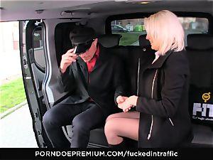 poked IN TRAFFIC - phat breasts platinum-blonde cum covered in car